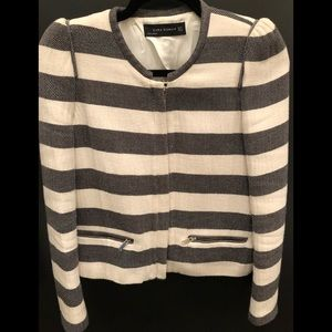 Black & off white stripe jacket with zipper detail